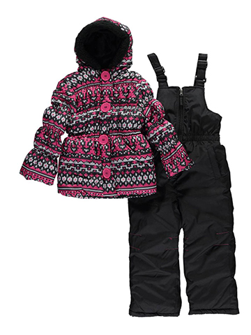 "Pink Platinum Little Girls' ""Cross Stitch"" 2-Piece Snowsuit (Sizes 4 – 6X) - CookiesKids.com"