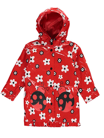 "Wippette Little Girls' ""Flowers & Ladybugs"" Rain Jacket (Sizes 4 – 6X) - CookiesKids.com"