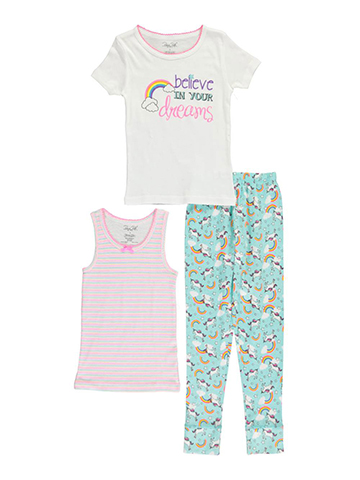 "Rene Rofe Big Girls' ""Unicorn Dreams"" 3-Piece Pajamas (Sizes 7 – 16) - CookiesKids.com"
