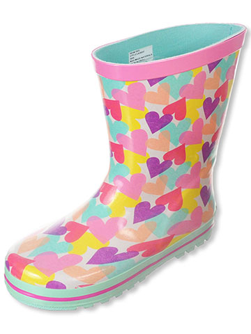 "Laura Ashley Girls' ""Confetti Hearts"" Rain Boots (Toddler Sizes 7 – 12) - CookiesKids.com"
