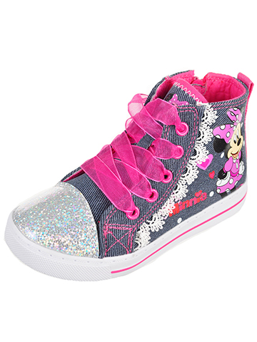 Minnie Mouse Girls' High-Top Sneakers (Toddler Sizes 7 – 12) - CookiesKids.com