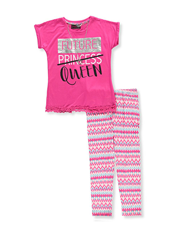 Dream Star Girls' 2-Piece Pants Set Outfit with Necklace - CookiesKids.com