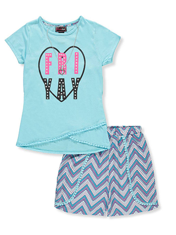 Dream Star Girls' 2-Piece Short Set Outfit with Necklace - CookiesKids.com