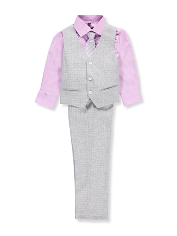 "Kids World Little Boys' ""Daltrey"" 4-Piece Vest Set (Sizes 4 – 7) - CookiesKids.com"