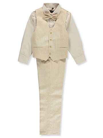 "Kids World Big Boys' ""Desert Linen"" 4-Piece Vest Set (Sizes 8 – 20) - CookiesKids.com"