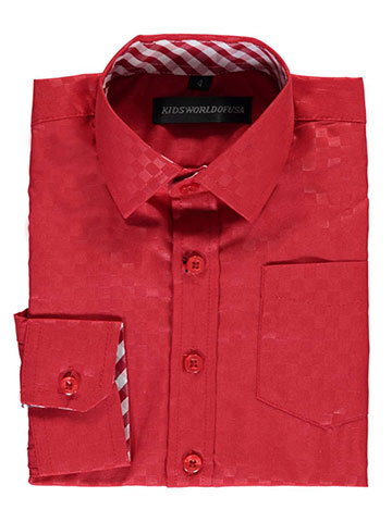 "Kids World Little Boys' ""Subtle Grid Check"" Dress Shirt (Sizes 4 – 7) - CookiesKids.com"