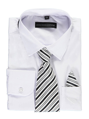Kids World Big Boys' Husky Dress Shirt with Accessories (Sizes 10H – 20H) - CookiesKids.com