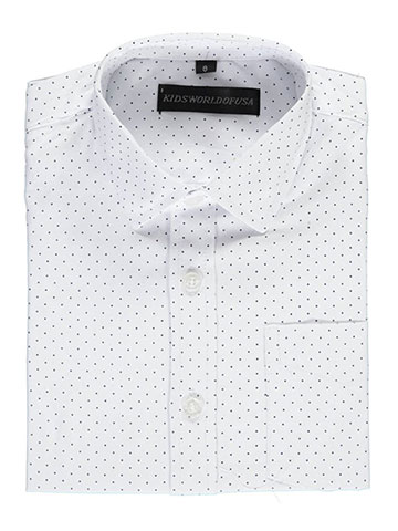 "Kids World Little Boys' ""Textured Polka"" Dress Shirt (Sizes 4 – 7) - CookiesKids.com"