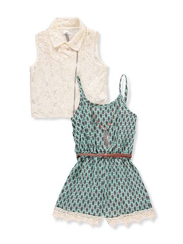 Beautees Girls' 2-Piece Romper Set Outfit with Accessories - CookiesKids.com