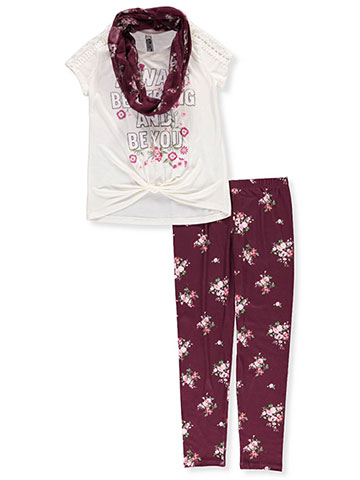 Beautees Girls' 2-Piece Pants Set Outfit with Scarf - CookiesKids.com