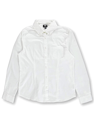 "Lee Uniforms Big Girls' Junior ""Stretch Oxford"" Button-Down Blouse - CookiesKids.com"