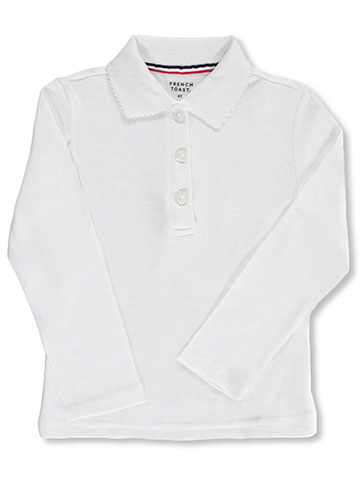 French Toast Little Girls' Toddler L/S Fitted Knit Polo With Picot Collar (Sizes 2T - 4T) - CookiesKids.com