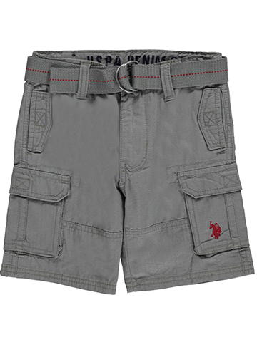 "U.S. Polo Assn. Little Boys' ""Grid Reinforced"" Belted Cargo Shorts (Sizes 4 – 7) - CookiesKids.com"