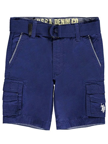 "U.S. Polo Assn. Little Boys' ""Chambray Cuffs"" Belted Cargo Shorts (Sizes 4 – 7) - CookiesKids.com"