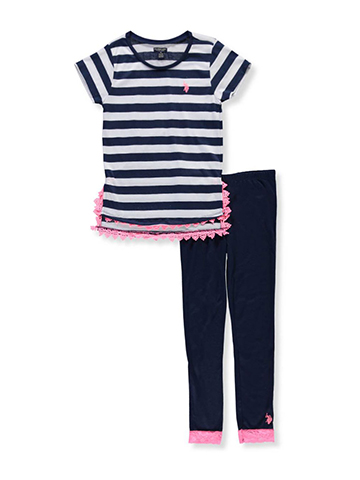 U.S. Polo Assn. Girls' 2-Piece Pants Set Outfit - CookiesKids.com