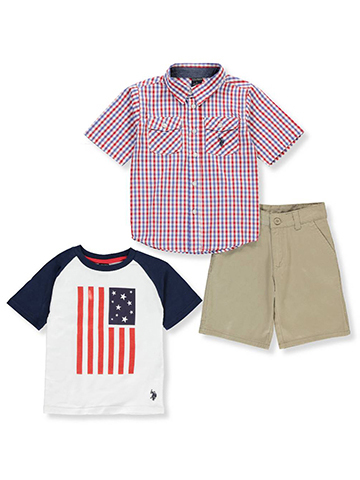 U.S. Polo Assn. Boys' 3-Piece Short Set Outfit - CookiesKids.com