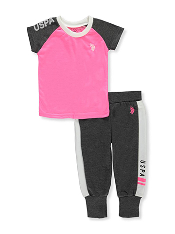 U.S. Polo Assn. Baby Girls' 2-Piece Pants Set Outfit - CookiesKids.com