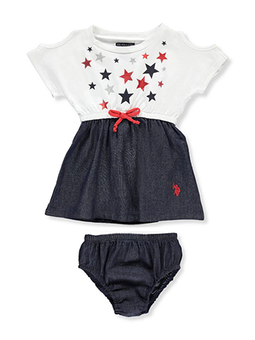 U.S. Polo Assn. Baby Girls' Cold Shoulder Dress with Diaper Cover - CookiesKids.com