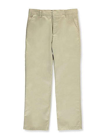 French Toast Big Boys' Husky Flat Front Wrinkle No More Double Knee Pants (Husky Sizes) - CookiesKids.com