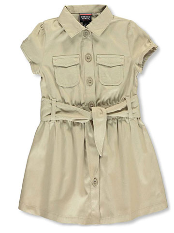 "French Toast Little Girls' ""Safari Classic"" Belted Dress (Sizes 4 – 6X) - CookiesKids.com"