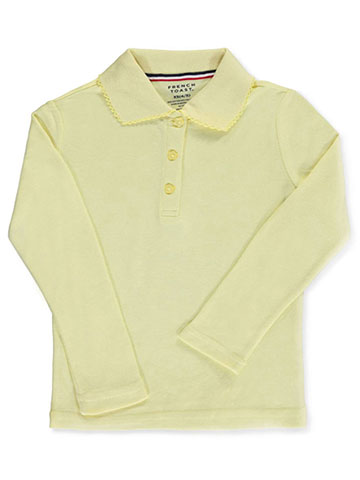 French Toast Little Girls' L/S Fitted Knit Polo With Picot Collar (Sizes 4 - 6X) - CookiesKids.com