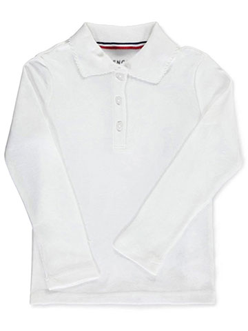 French Toast Big Girls' L/S Fitted Knit Polo With Picot Collar (Sizes 7 - 20) - CookiesKids.com