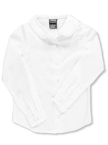 ee788aea French Toast Big Girls' L/S Blouse with Lace Edging (Sizes 7 -