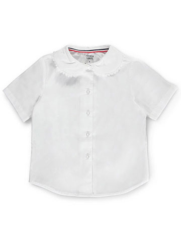 French Toast Little Girls' S/S Peter Pan Lace Trim Blouse (Sizes 4 - 6X) - CookiesKids.com