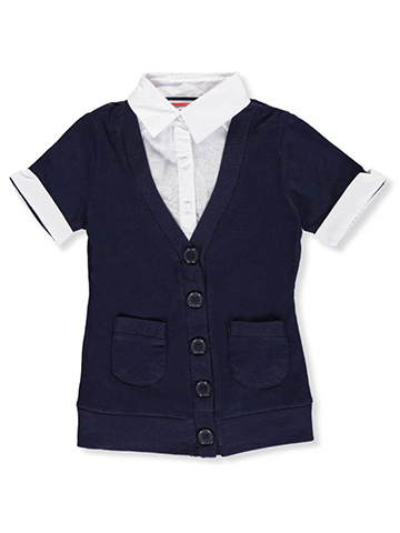 French Toast Little Girls' S/S Blouse/Cardigan Combo Top (Sizes 4 - 6X) - CookiesKids.com