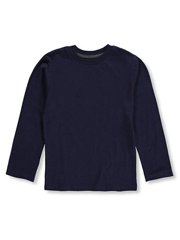 "French Toast Big Boys' ""Ribbed Crewneck"" L/S T-Shirt (Sizes 8 – 20) - CookiesKids.com"
