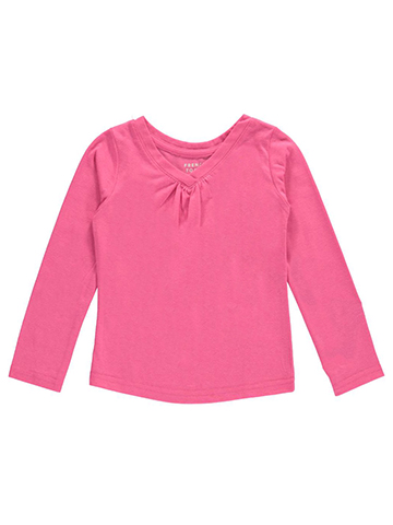 French Toast Baby Girls' Ruched L/S V-Neck T-Shirt - CookiesKids.com