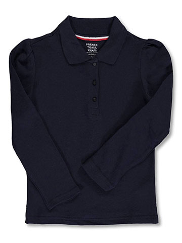 French Toast Little Girls' L/S Stretch Pique Polo Shirt (Sizes 4 – 6X) - CookiesKids.com