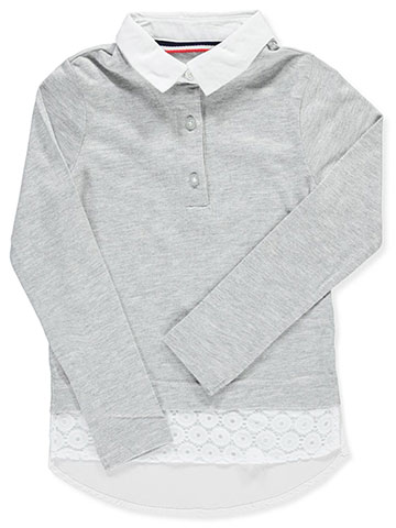 "French Toast Little Girls' ""Eyelet Shirttail"" L/S Top (Sizes 4 – 6X) - CookiesKids.com"