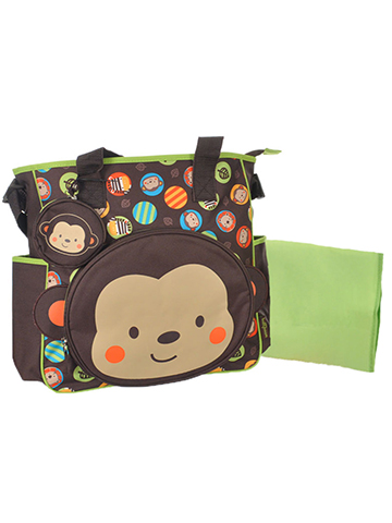 "Babyboom ""Monkey Circles"" Diaper Tote Bag - CookiesKids.com"
