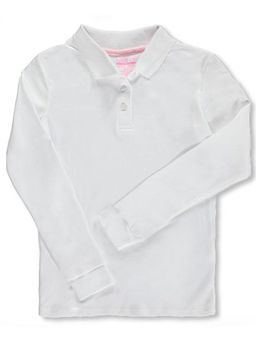 "465b053526 Nautica Big Girls' ""Knit Picot"" L/S School Uniform Polo (Sizes"