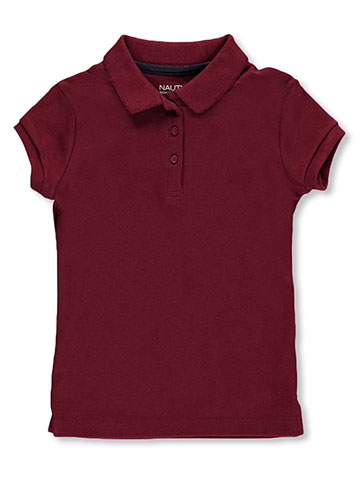 "Nautica Little Girls' ""Picot Collar"" S/S Polo (Sizes 4 – 6X) - CookiesKids.com"