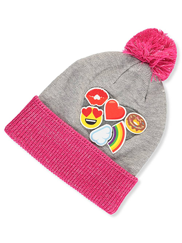 Emojione Girls' Knit Beanie with Patches (Youth One Size) - CookiesKids.com