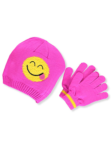 Emojione Girls' Knit Beanie & Gloves Set (Youth One Size) - CookiesKids.com