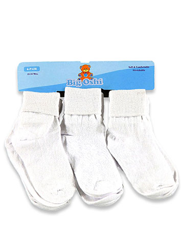 Big Oshi Baby Girls' 6-Pack Ankle Socks - CookiesKids.com