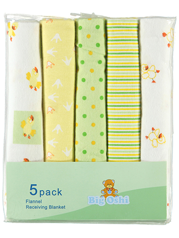 "Big Oshi ""Quack"" 5-Pack Receiving Blankets - CookiesKids.com"