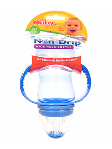 Nuby Non-Drip Wide Neck Bottle (10 oz.) - CookiesKids.com