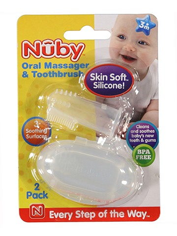 Nuby Oral Massager & Toothbrush 2-Pack - CookiesKids.com