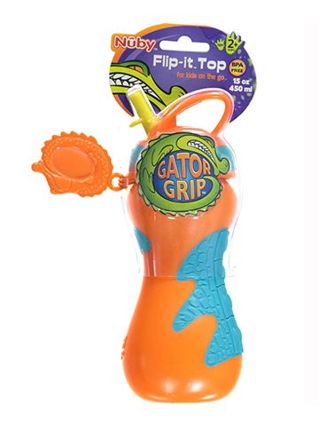 "Nuby ""Gator Grip"" Flip-it Top Sipper (15 oz.) - CookiesKids.com"