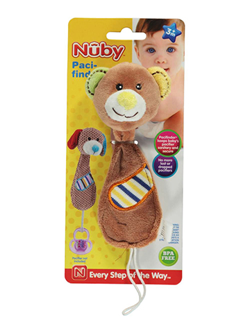 "Nuby Pacifinder ""Happy Bear Cub"" Pacifier Clip - CookiesKids.com"