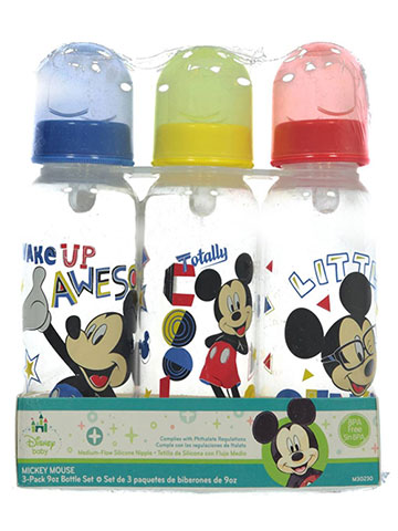 "Disney Mickey Mouse ""Little Genius"" 3-Pack Bottles (9. oz) - CookiesKids.com"