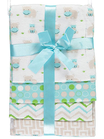 "Petite L'Amour Baby Boys' ""Happy Hippo"" 4-Pack Receiving Blankets - CookiesKids.com"