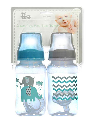 "Cribmates ""Elephant Waves"" 2-Pack Wide-Neck Bottles (11 oz.) - CookiesKids.com"