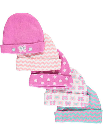 "Cribmates Baby Girls' ""Butterfly Stripes"" 5-Pack Caps - CookiesKids.com"