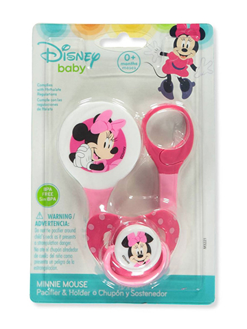 Disney Minnie Mouse Pacifier & Clip Set - CookiesKids.com