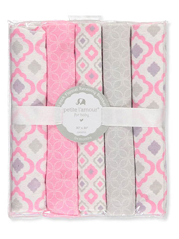 Petite L'amour 5-Pack Flannel Receiving Blankets - CookiesKids.com